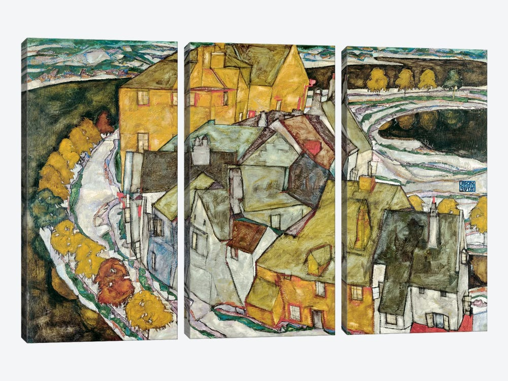 Crescent of Houses II (IslandTown) by Egon Schiele 3-piece Canvas Wall Art