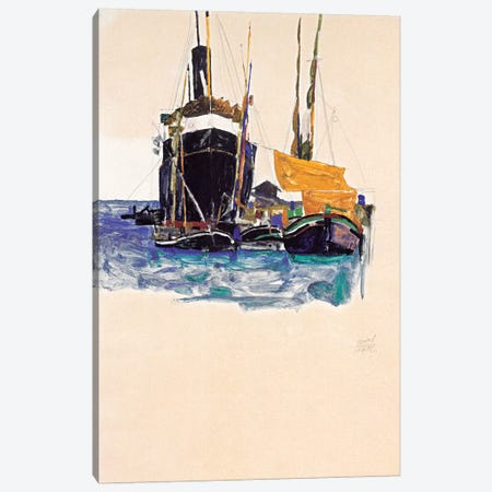 Steamers and Sailing Boats in The Port of Trieste Canvas Print #8202} by Egon Schiele Canvas Wall Art