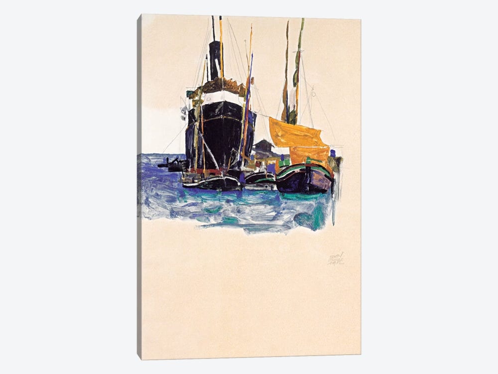 Steamers and Sailing Boats in The Port of Trieste by Egon Schiele 1-piece Canvas Artwork