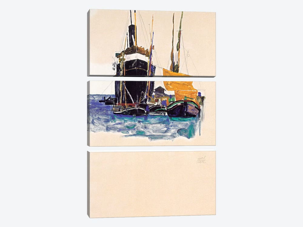 Steamers and Sailing Boats in The Port of Trieste by Egon Schiele 3-piece Canvas Artwork