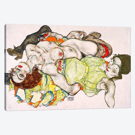 Female Lovers Canvas Print #8212} by Egon Schiele Canvas Print