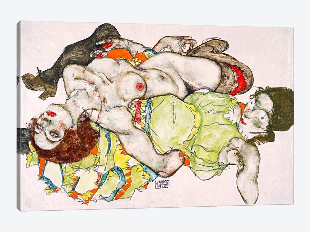 Female Lovers by Egon Schiele 1-piece Canvas Art Print