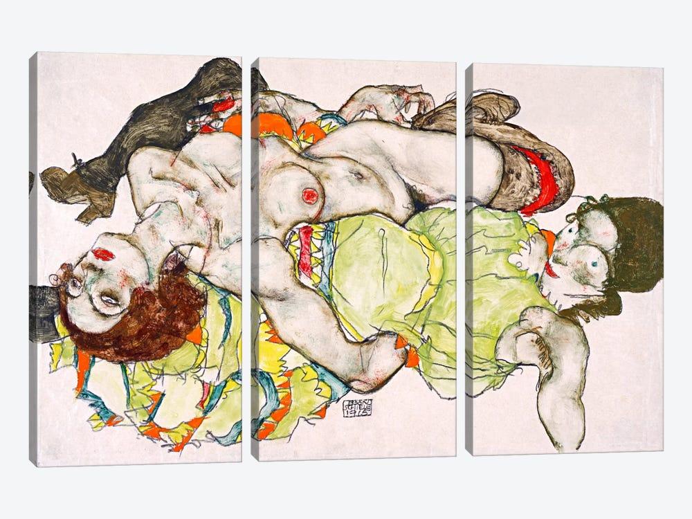 Female Lovers by Egon Schiele 3-piece Canvas Print