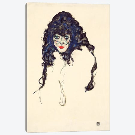 Woman with Long Hair Canvas Print #8214} by Egon Schiele Canvas Art