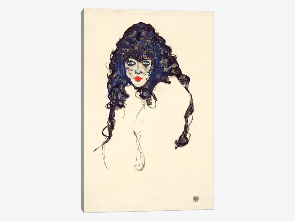 Woman with Long Hair by Egon Schiele 1-piece Art Print