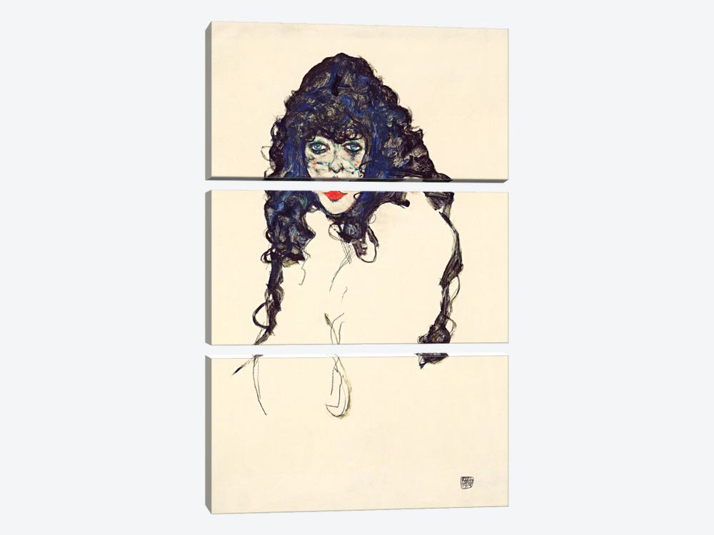 Woman with Long Hair by Egon Schiele 3-piece Canvas Print