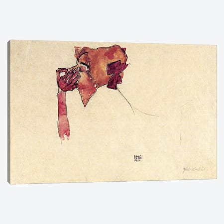 Gerti Schiele with Hair Bow Canvas Print #8218} by Egon Schiele Canvas Print