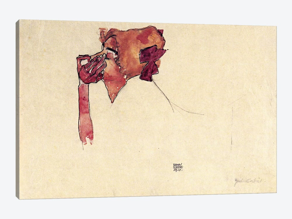 Gerti Schiele with Hair Bow by Egon Schiele 1-piece Canvas Print