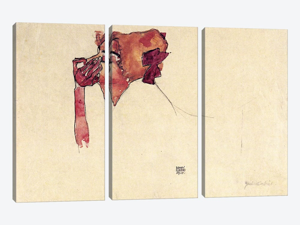 Gerti Schiele with Hair Bow by Egon Schiele 3-piece Canvas Print