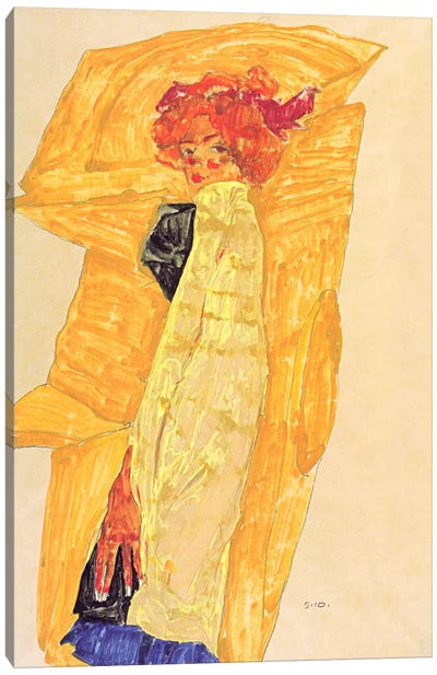Gerti Schiele Against Ocher-Coloured Drapery Canvas Art Print