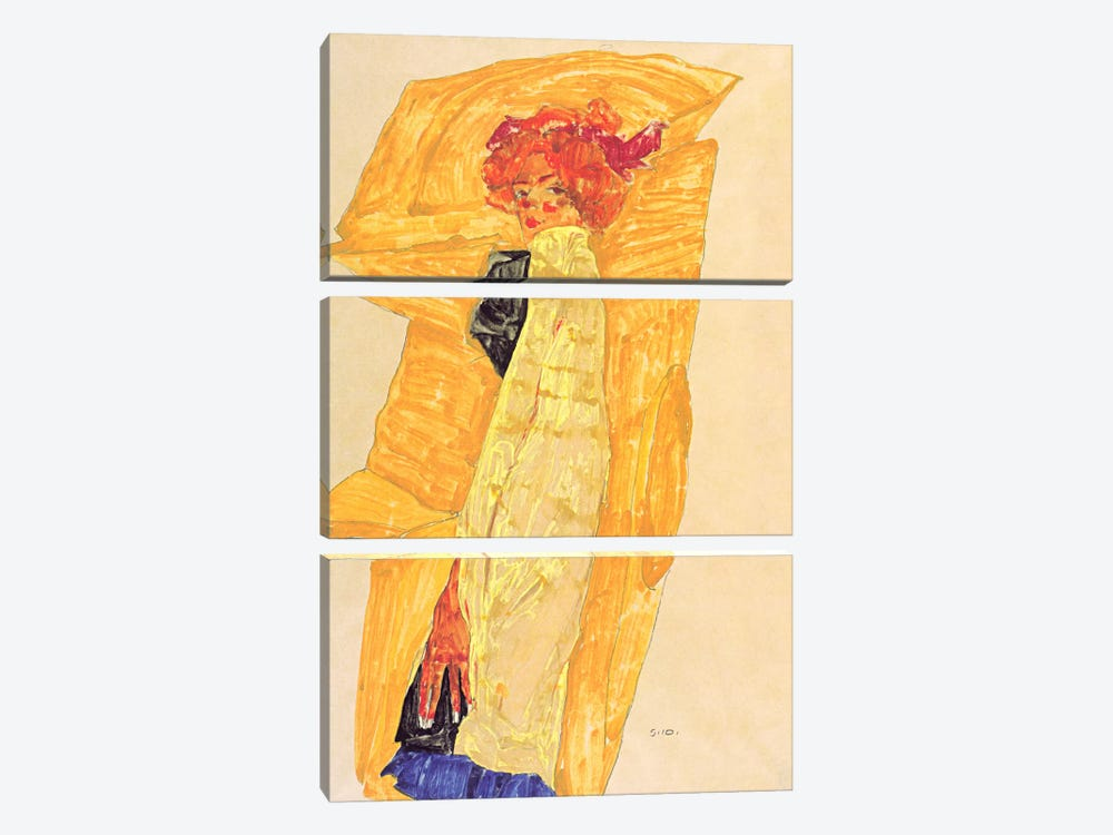 Gerti Schiele Against Ocher-Coloured Drapery 3-piece Canvas Artwork