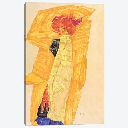 Gerti Schiele Against Ocher-Coloured Drapery Canvas Print #8219} by Egon Schiele Canvas Print