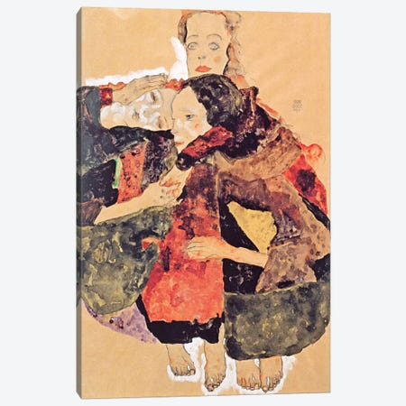 Group of Three Girls Canvas Print #8221} by Egon Schiele Canvas Artwork