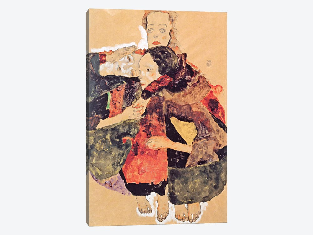 Group of Three Girls by Egon Schiele 1-piece Canvas Print