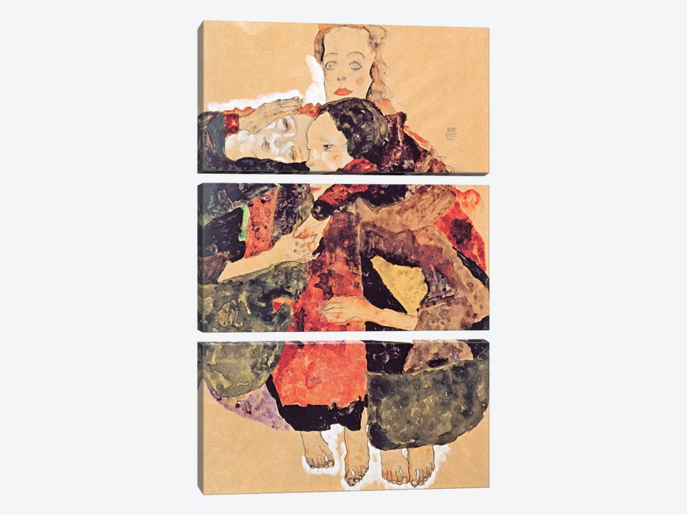 Group of Three Girls by Egon Schiele 3-piece Canvas Art Print
