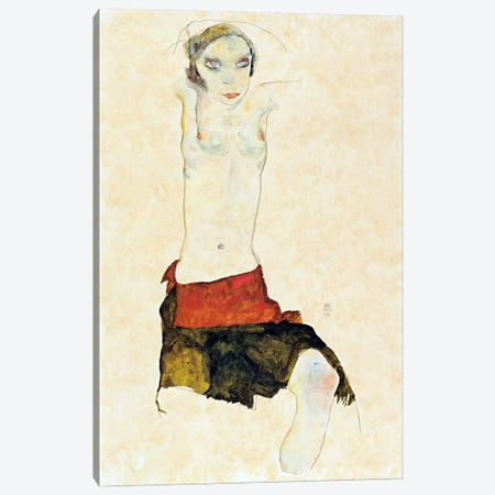 Semi-Nude with Colored skirt and Raised Arms Canvas Print #8223} by Egon Schiele Canvas Wall Art