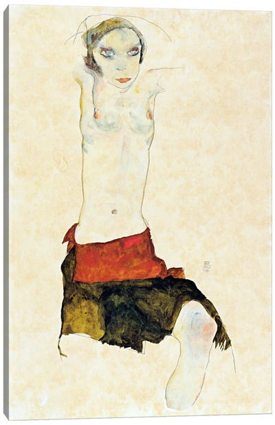 Semi-Nude with Colored skirt and Raised Arms Canvas Art Print