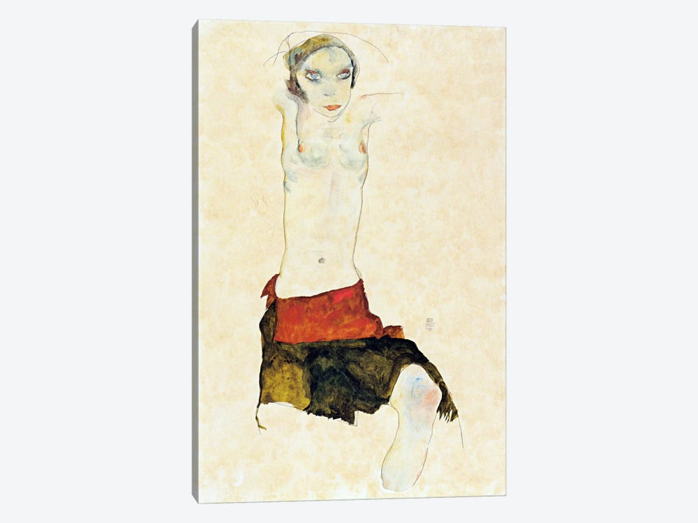 Semi-Nude with Colored skirt and Raised Arms by Egon Schiele 1-piece Art Print