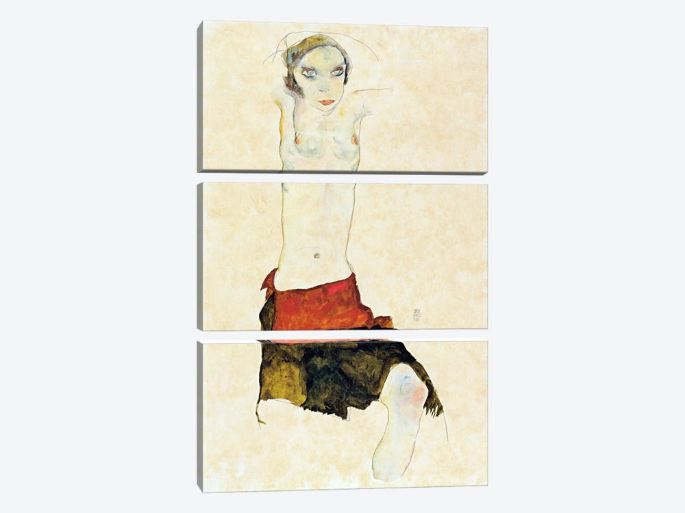 Semi-Nude with Colored skirt and Raised Arms by Egon Schiele 3-piece Art Print