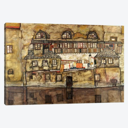 House Wall on The River Canvas Print #8228} by Egon Schiele Canvas Art