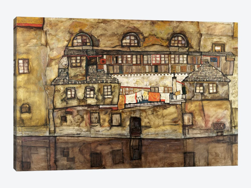 House Wall on The River by Egon Schiele 1-piece Canvas Wall Art