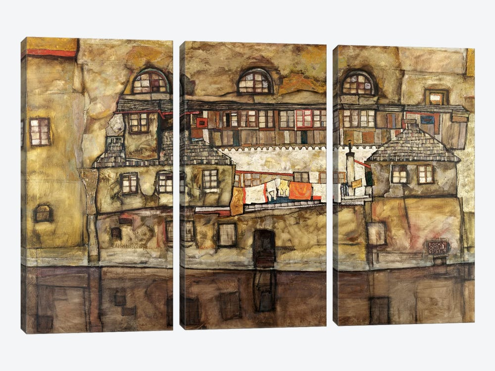 House Wall on The River by Egon Schiele 3-piece Canvas Art