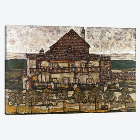 House with Shingle Roof (Old House) Canvas Print #8229} by Egon Schiele Canvas Wall Art