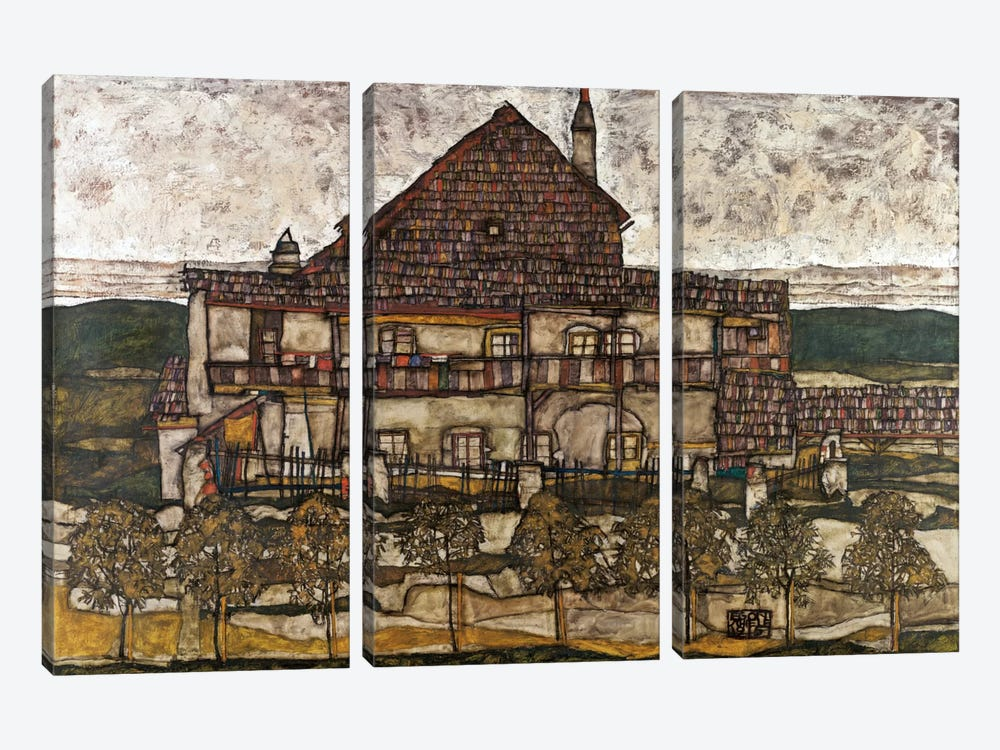 House with Shingle Roof (Old House) by Egon Schiele 3-piece Canvas Art Print