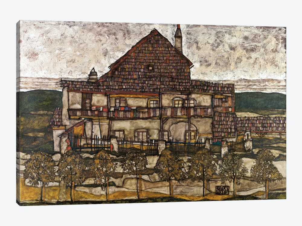 House with Shingle Roof (Old House) by Egon Schiele 1-piece Canvas Print