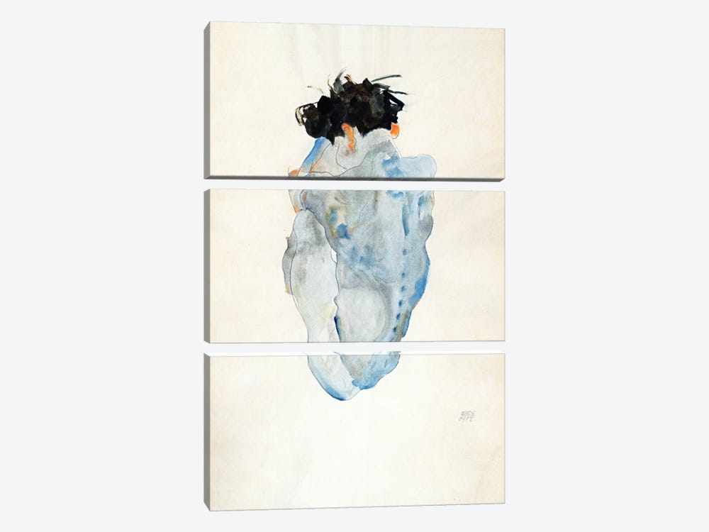 Crouching by Egon Schiele 3-piece Canvas Artwork