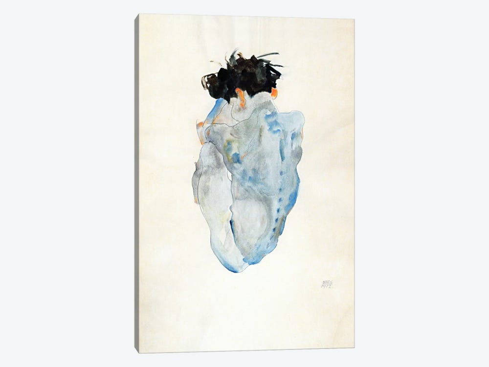 Crouching by Egon Schiele 1-piece Canvas Art