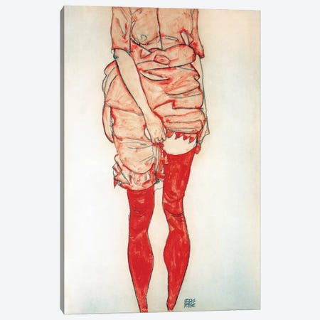 Standing Woman In Red Canvas Print #8235} by Egon Schiele Canvas Art
