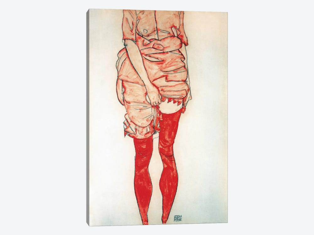 Standing Woman In Red by Egon Schiele 1-piece Canvas Artwork