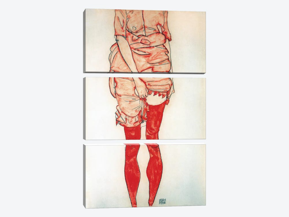 Standing Woman In Red by Egon Schiele 3-piece Canvas Art