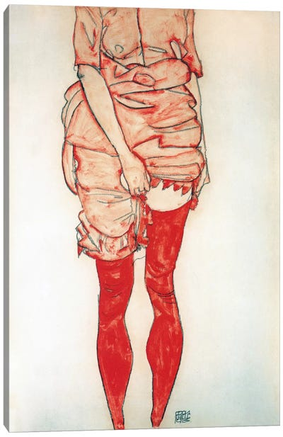Standing Woman In Red Canvas Art Print