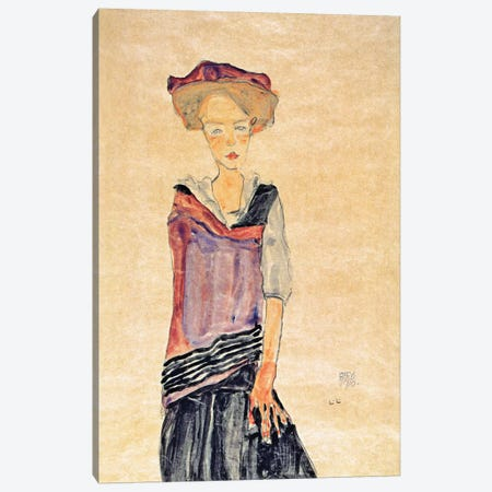 Standing Girl Canvas Print #8240} by Egon Schiele Canvas Wall Art