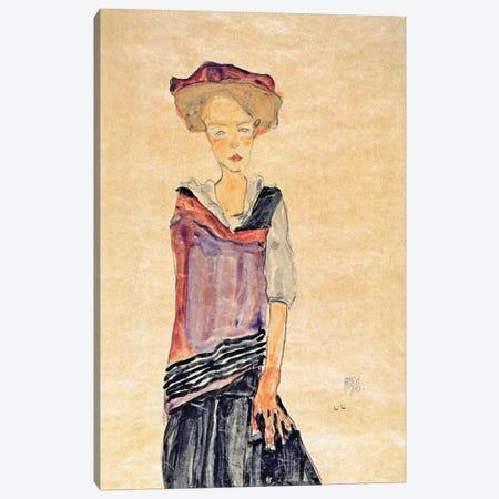 Standing Girl Canvas Print #8240} by Egon Schiele Canvas Wall Art
