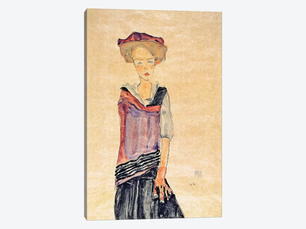 Standing Girl by Egon Schiele 1-piece Canvas Artwork