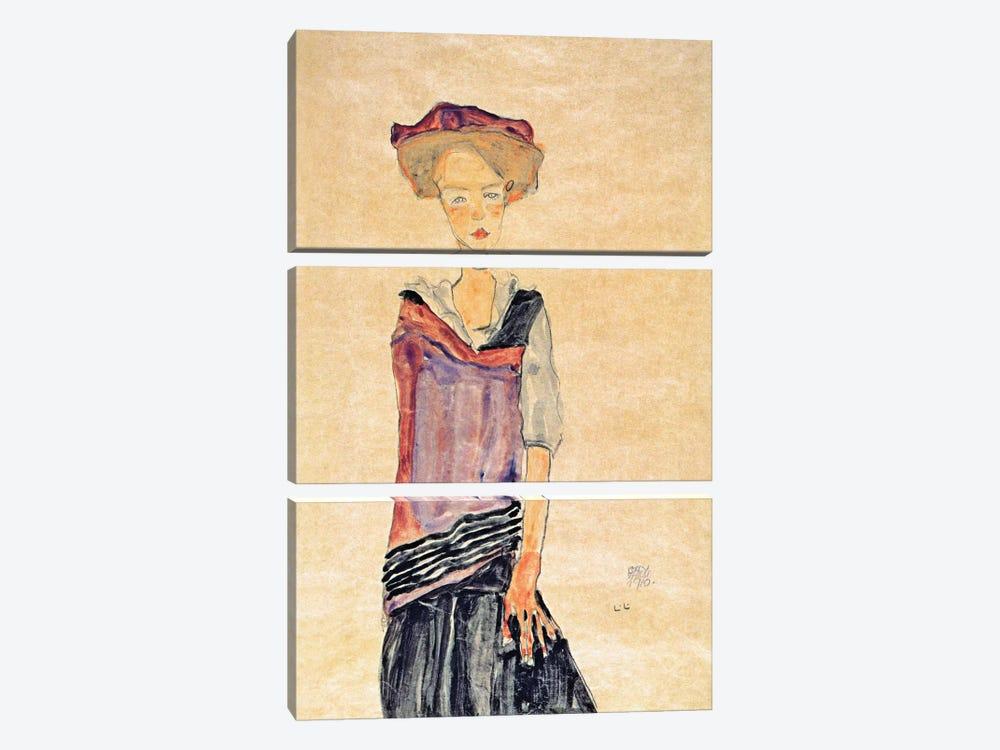 Standing Girl by Egon Schiele 3-piece Canvas Art