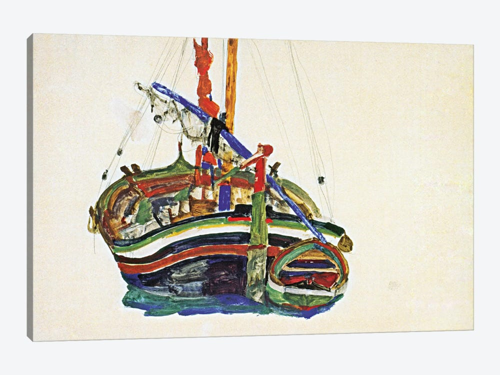 Trieste Fishing Boat by Egon Schiele 1-piece Canvas Print