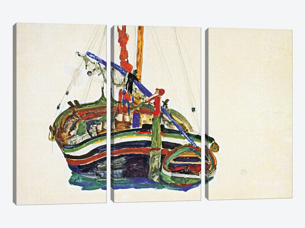 Trieste Fishing Boat by Egon Schiele 3-piece Canvas Art Print