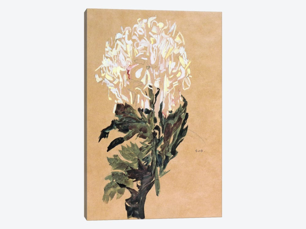 White Chrysanthemum by Egon Schiele 1-piece Canvas Wall Art
