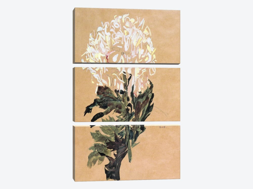 White Chrysanthemum by Egon Schiele 3-piece Canvas Artwork