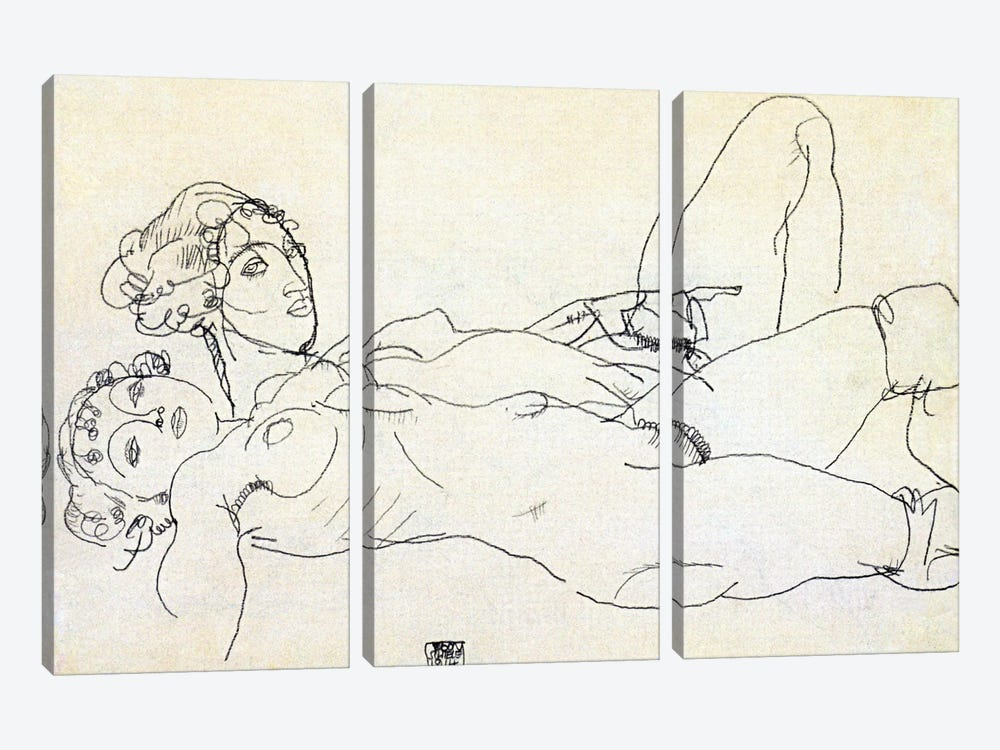 Two girls lying Act by Egon Schiele 3-piece Canvas Artwork