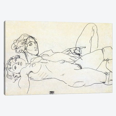 Two girls lying Act Canvas Print #8248} by Egon Schiele Canvas Artwork
