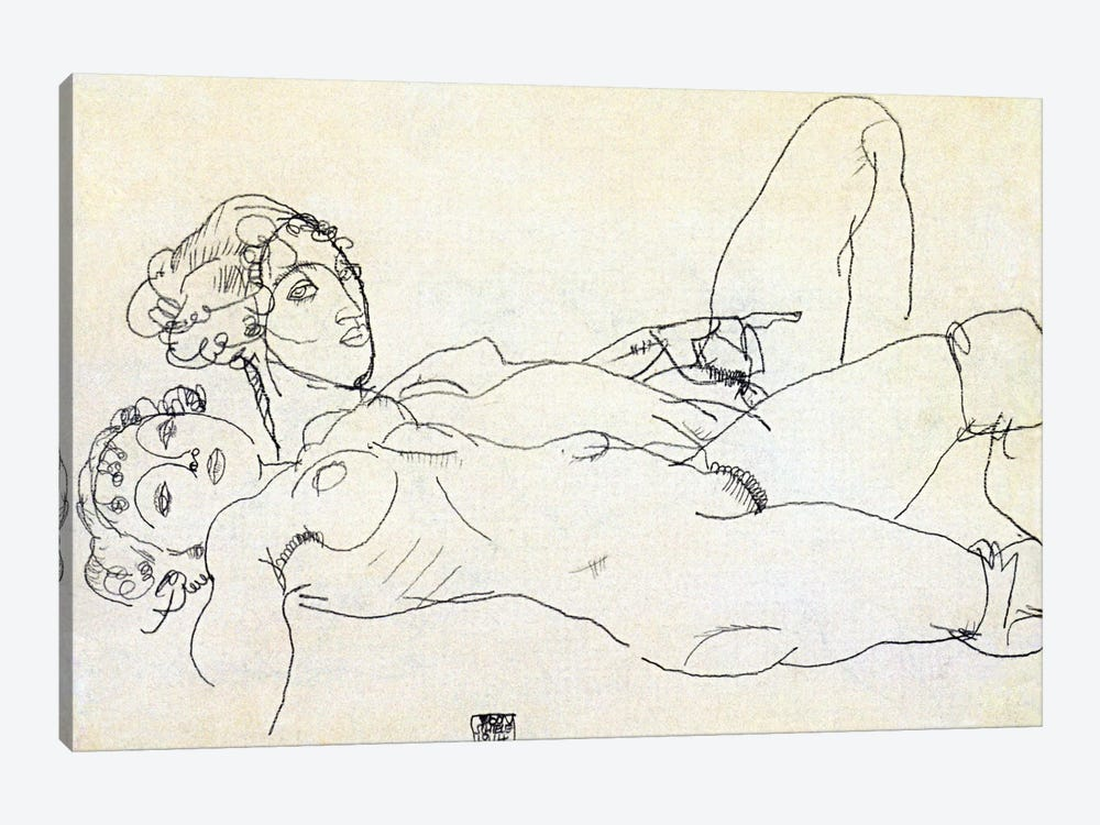 Two girls lying Act by Egon Schiele 1-piece Canvas Art