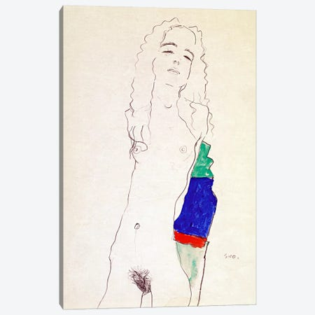 Standing Female Nude Canvas Print #8249} by Egon Schiele Canvas Artwork