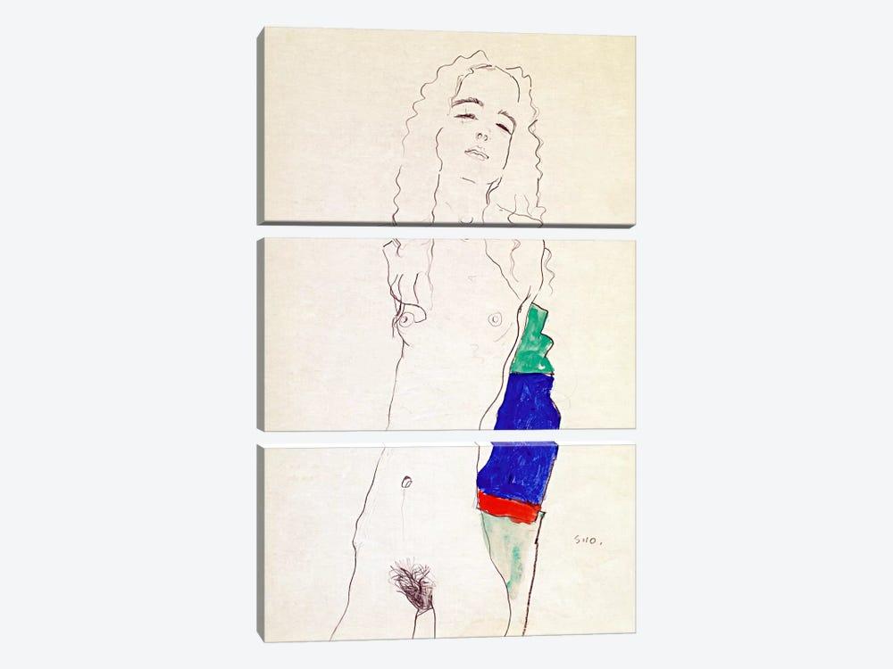 Standing Female Nude by Egon Schiele 3-piece Canvas Print