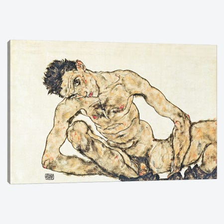 Nude Self-Portrait Canvas Print #8250} by Egon Schiele Canvas Print
