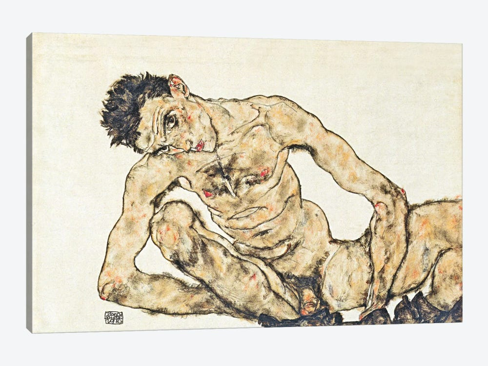 Nude Self-Portrait by Egon Schiele 1-piece Canvas Art Print